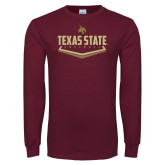 Maroon Long Sleeve T Shirt-Texas State Softball
