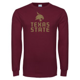 Maroon Long Sleeve T Shirt-Texas State Logo Stacked