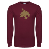 Maroon Long Sleeve T Shirt-Bobcat Logo