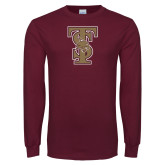 Maroon Long Sleeve T Shirt-Baseball TS