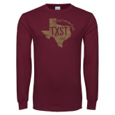 Maroon Long Sleeve T Shirt-TXST Eat em up Cats