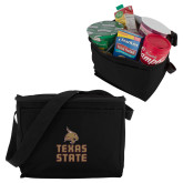 Six Pack Black Cooler-Texas State Logo Stacked