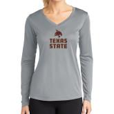 Ladies Syntrel Performance Platinum Longsleeve Shirt-Texas State Logo Stacked
