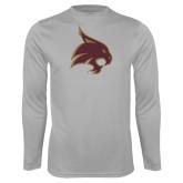 Performance Platinum Longsleeve Shirt-Bobcat Logo