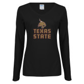 Ladies Black Long Sleeve V Neck Tee-Texas State Logo Stacked
