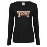Ladies Black Long Sleeve V Neck Tee-TXST Texas State