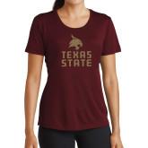 Ladies Performance Maroon Tee-Texas State Logo Stacked