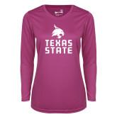 Ladies Syntrel Performance Raspberry Longsleeve Shirt-Texas State Logo Stacked
