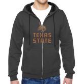 Charcoal Fleece Full Zip Hoodie-Texas State Logo Stacked