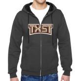 Charcoal Fleece Full Zip Hoodie-TXST Texas State
