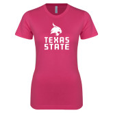 Next Level Ladies SoftStyle Junior Fitted Fuchsia Tee-Texas State Logo Stacked