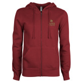 ENZA Ladies Maroon Fleece Full Zip Hoodie-Texas State Logo Stacked