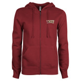 ENZA Ladies Maroon Fleece Full Zip Hoodie-TXST Texas State