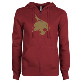 ENZA Ladies Maroon Fleece Full Zip Hoodie-Bobcat Logo