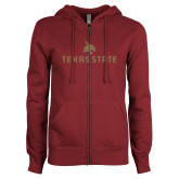 ENZA Ladies Maroon Fleece Full Zip Hoodie-Texas State Secondary