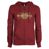 ENZA Ladies Maroon Fleece Full Zip Hoodie-Bobcats Basketball