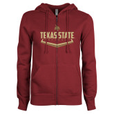 ENZA Ladies Maroon Fleece Full Zip Hoodie-Texas State Softball