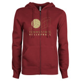 ENZA Ladies Maroon Fleece Full Zip Hoodie-Texas State Volleyball