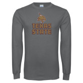 Charcoal Long Sleeve T Shirt-Texas State Logo Stacked