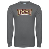 Charcoal Long Sleeve T Shirt-TXST Texas State