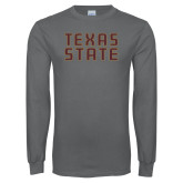 Charcoal Long Sleeve T Shirt-Texas State Stacked