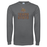 Charcoal Long Sleeve T Shirt-Texas State Distressed