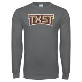Charcoal Long Sleeve T Shirt-TXST Distressed