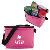 Six Pack Pink Cooler-Texas State Logo Stacked