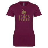 Next Level Ladies SoftStyle Junior Fitted Maroon Tee-Texas State Logo Stacked
