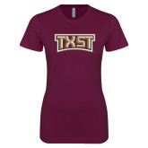 Next Level Ladies SoftStyle Junior Fitted Maroon Tee-TXST Texas State