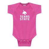 Fuchsia Infant Onesie-Texas State Logo Stacked
