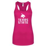 Next Level Ladies Raspberry Ideal Racerback Tank-Texas State Logo Stacked