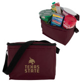 Six Pack Maroon Cooler-Texas State Logo Stacked