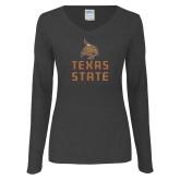 Ladies Dark Heather Long Sleeve V Neck Tee-Texas State Logo Stacked