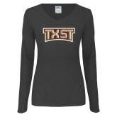 Ladies Dark Heather Long Sleeve V Neck Tee-TXST Texas State