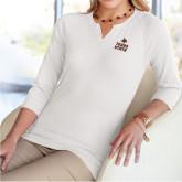 Ladies V Notch White 3/4 Sleeve Shirt-Texas State Logo Stacked