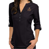 Ladies Glam Black 3/4 Sleeve Blouse-Texas State Logo Stacked