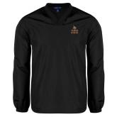 V Neck Black Raglan Windshirt-Texas State Logo Stacked