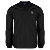 V Neck Black Raglan Windshirt-Bobcat Logo