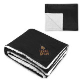 Super Soft Luxurious Black Sherpa Throw Blanket-Texas State Logo Stacked