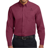 Maroon Twill Button Down Long Sleeve-Texas State Logo Stacked