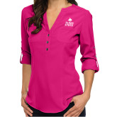 Ladies Glam Berry 3/4 Sleeve Blouse-Texas State Logo Stacked