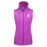 Columbia Ladies Full Zip Lilac Fleece Vest-Texas State Logo Stacked