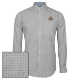 Mens Charcoal Plaid Pattern Long Sleeve Shirt-Texas State Logo Stacked