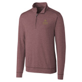 Cutter & Buck Shoreline Maroon 1/2 Zip-Texas State Logo Stacked