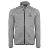 Grey Heather Fleece Jacket-Texas State Logo Stacked