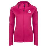 Ladies Tech Fleece Full Zip Hot Pink Hooded Jacket-Texas State Logo Stacked