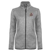 Grey Heather Ladies Fleece Jacket-Texas State Logo Stacked