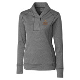 Ladies Cutter & Buck Shoreline Charcoal 1/2 Zip-Texas State Logo Stacked