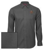 Red House Dark Charcoal Diamond Dobby Long Sleeve Shirt-Texas State Logo Stacked